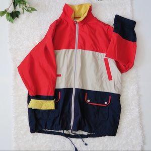 Vintage color block nautical style rain jacket